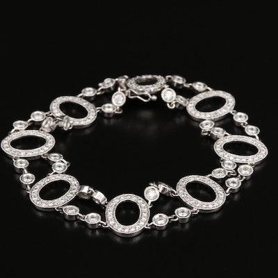 14K 4.21 CTW Diamond Oval Link Station Bracelet
