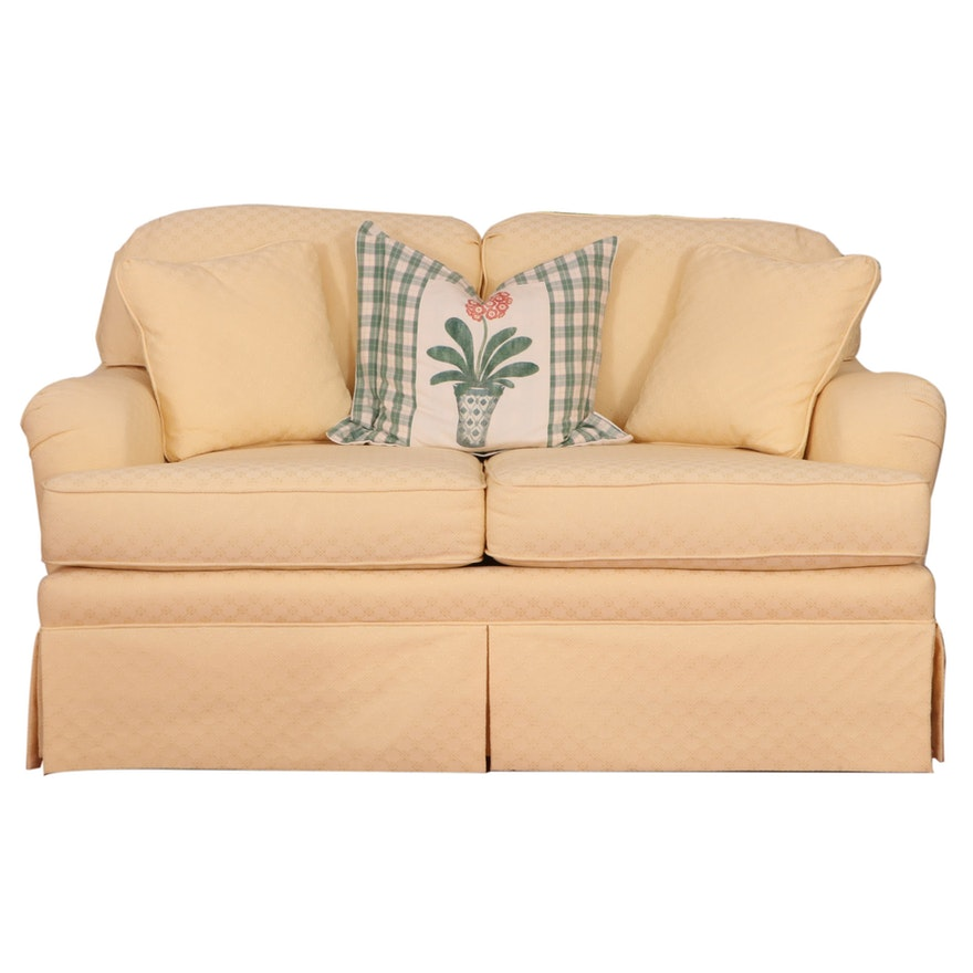 Norwalk Yellow-Upholstered Skirted Loveseat