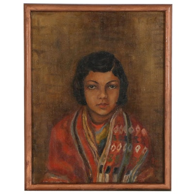 "Portrait Oil Painting of Young Woman ""Mestesa"", 1932"