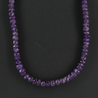 Amethyst Bead Necklace with Sterling Silver Clasp