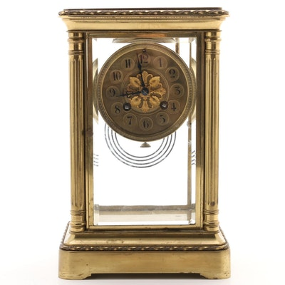 Japy Frères French Bevel Glass Brass Case Clock, Late 19th Century
