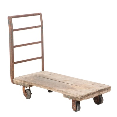 Industrial Oak and Steel Warehouse Cart