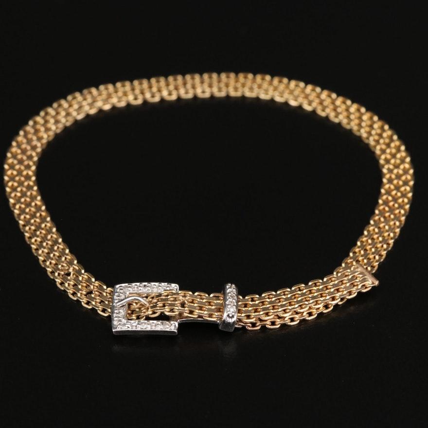 14K Diamond Buckle Bracelet