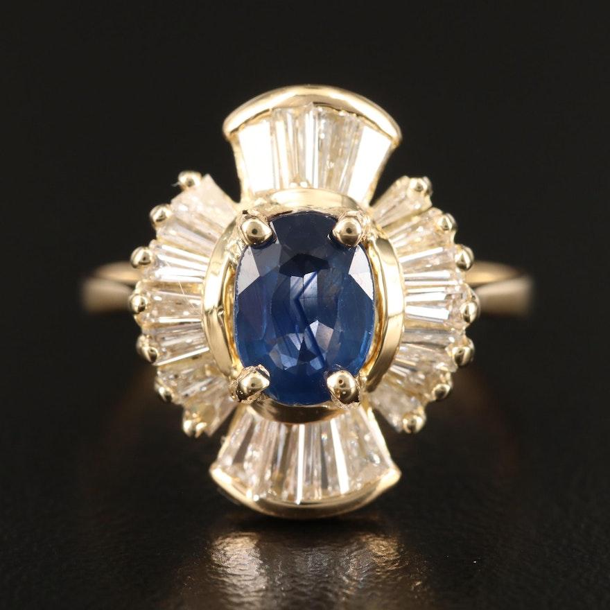 18K 1.10 CT Sapphire and 1.00 CTW Diamond Ballerina Ring