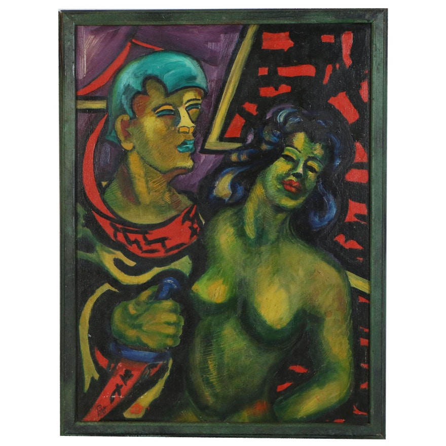 """Stylized Figure Oil Painting of Man and Woman """"Manchu"""", Mid 20th Century"""