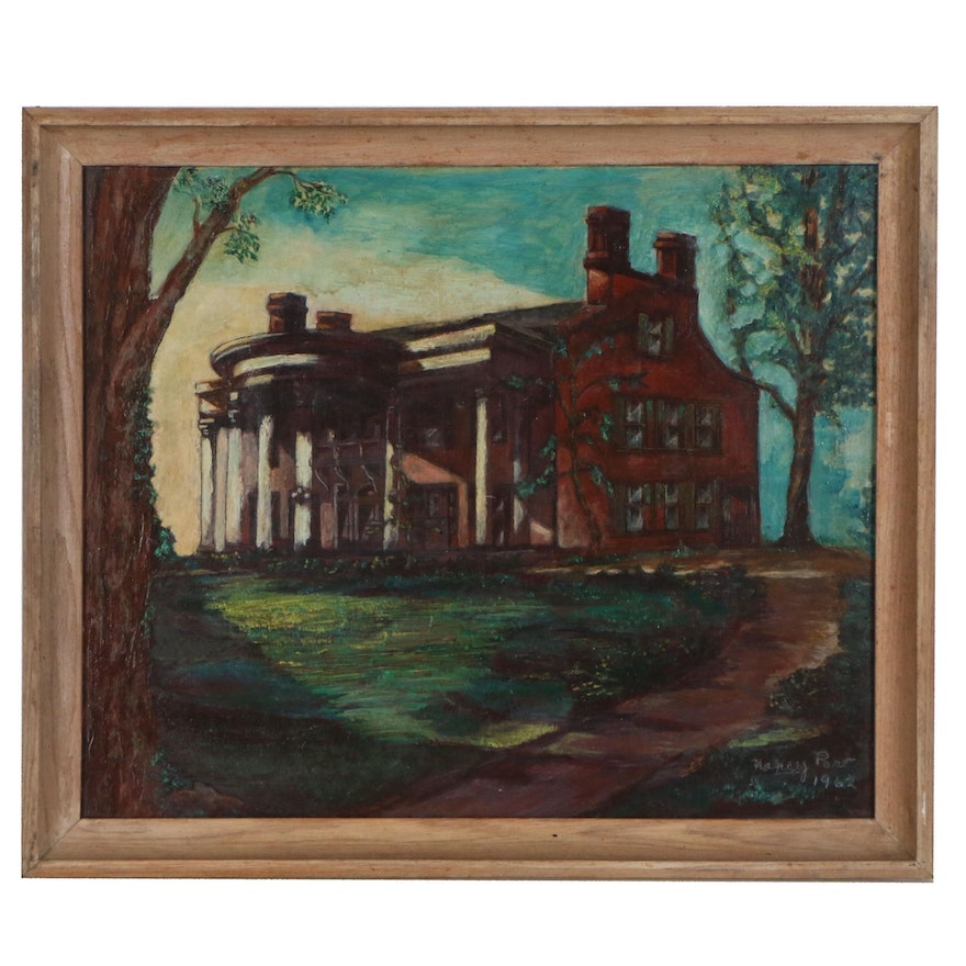 """Nancy Paro Oil Painting """"Twilight at the Smith Mansion"""", 1962"""