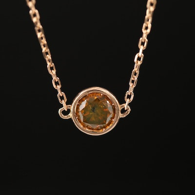 18K Rose Gold 0.30 CT Orange Diamond Solitaire Necklace
