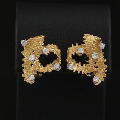 18K Diamond Textured Ribbon Earrings with Palladium Accents