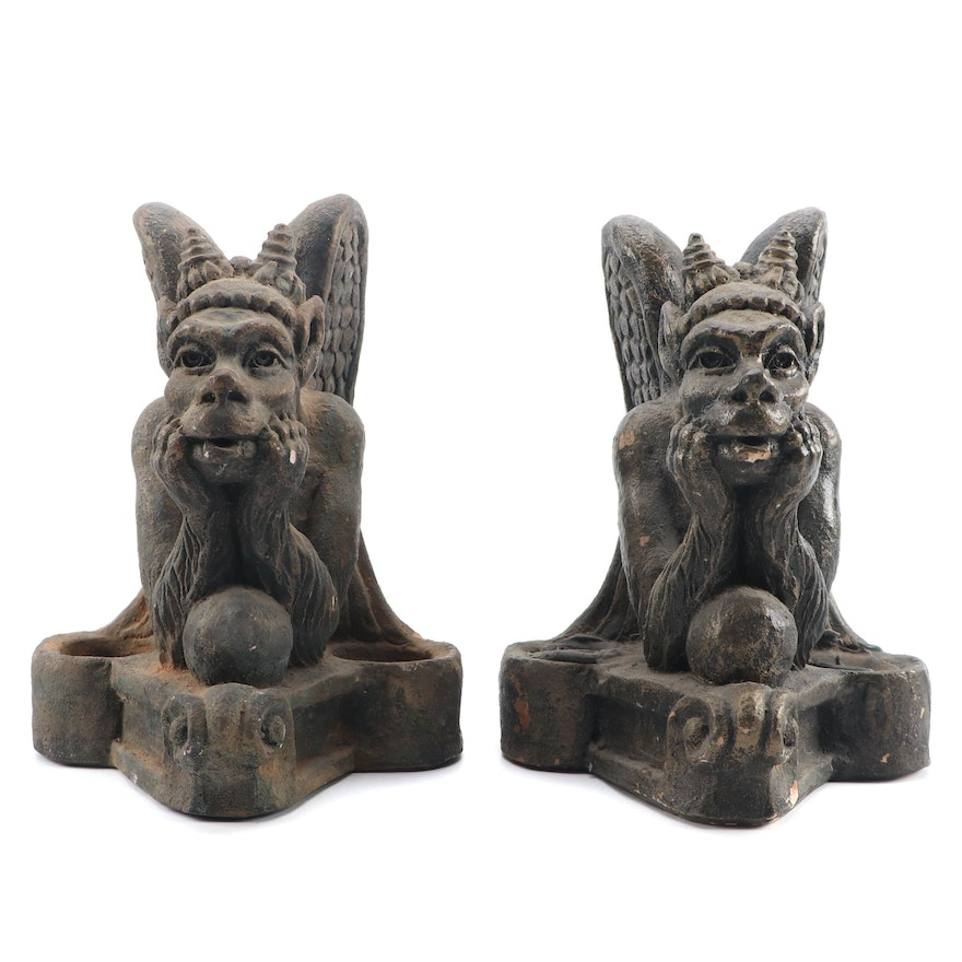 Mike Makras Sculpted Gargoyle Candle Holders, 1973
