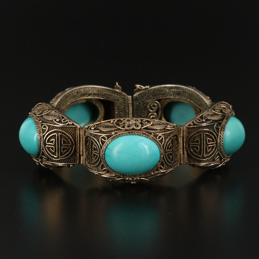 Sterling Silver Turquoise Filigree Bracelet