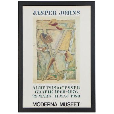 "Jasper Johns Signed Exhibition Poster ""Arbets Processer"", 1980"