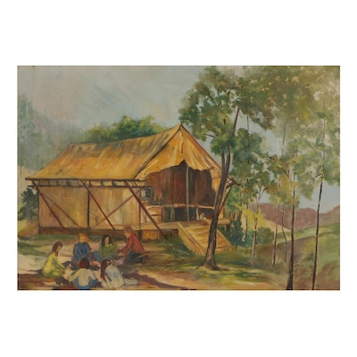 Oil Painting of Camp Scene