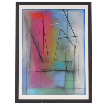 "Antonio Carreño Abstract Pastel Drawing ""Magical Colors"""