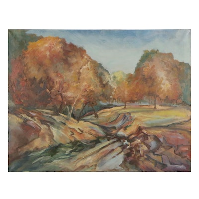 Modernist Landscape Oil Painting, Early 20th Century