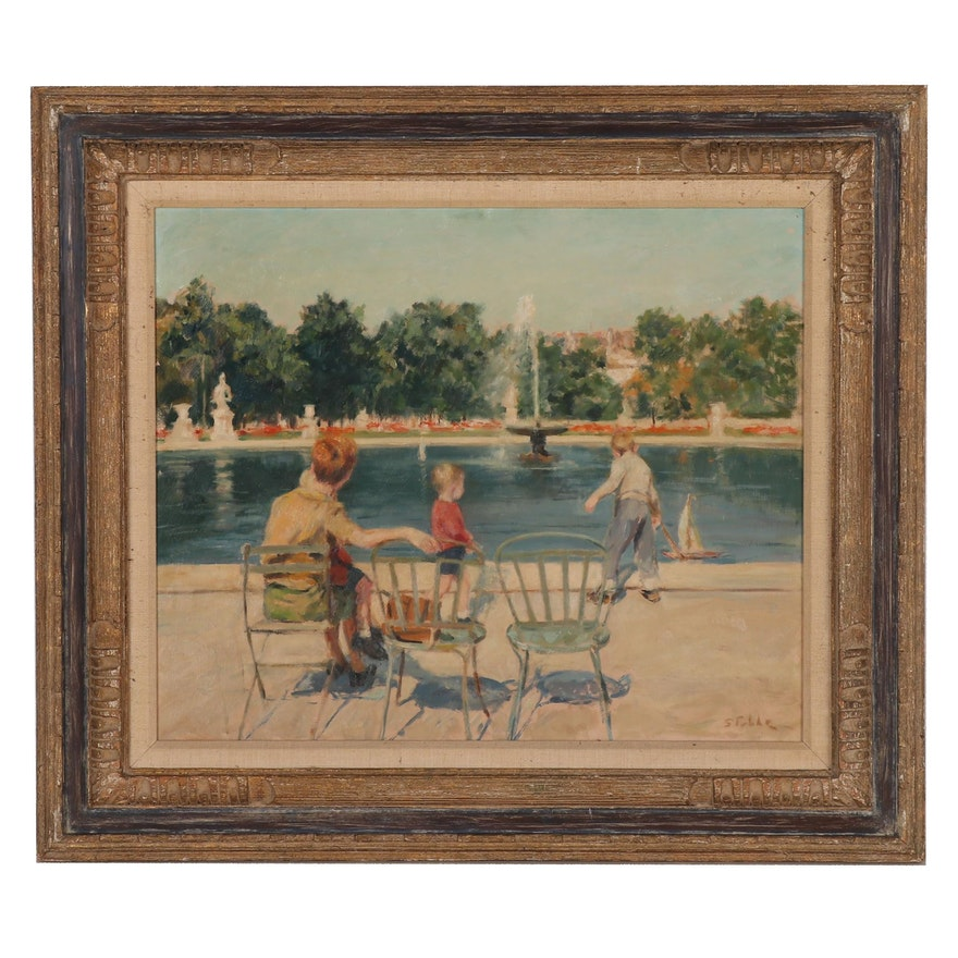 Marie Stobbe Oil Painting of a Family in Central Park, Mid to Late 20th Century