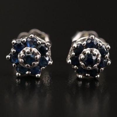 14K Sapphire Cluster Stud Earrings