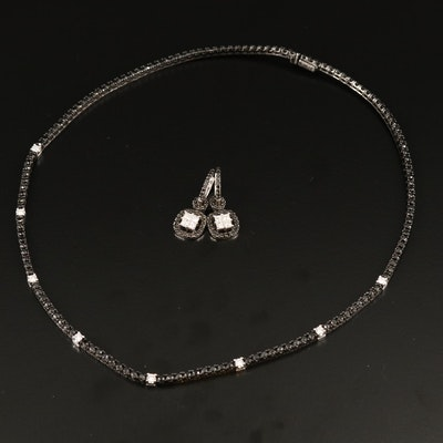 18K 6.60 CTW Diamond Rivière Necklace and 1.44 CTW Diamond Earrings