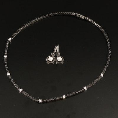 18K 6.60 CTW Diamond Rivière Necklace and 1.44 CTW Diamond Earrings