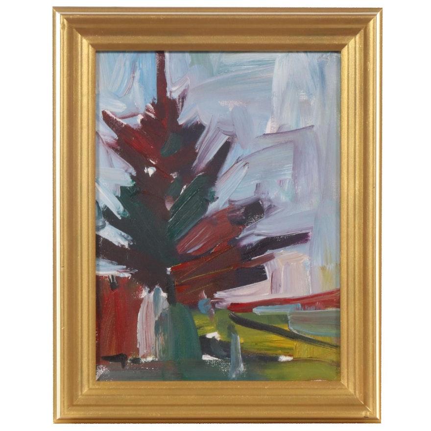"Jose Trujillo Oil Painting ""Pine Light"", 2019"