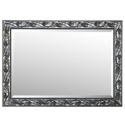 Metal Rectangular Wall Mirror with Embossed Leaf Pattern, Contemporary