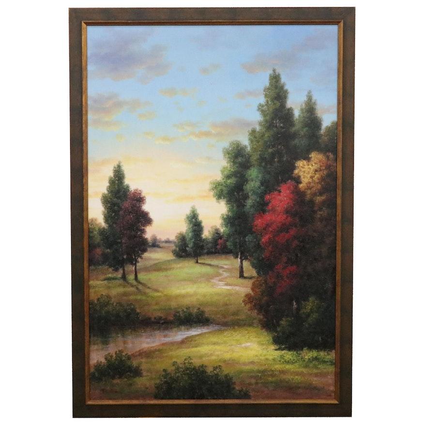 """Pablo Muñoz Landscape Oil Painting """"Luces,"""" Late 20th Century"""