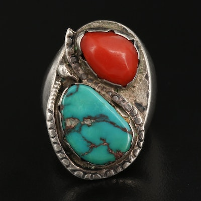 Western Sterling Freeform Coral and Turquoise Ring