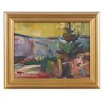"Jose Trujillo Oil Painting ""Sunset Pines"", 2019"