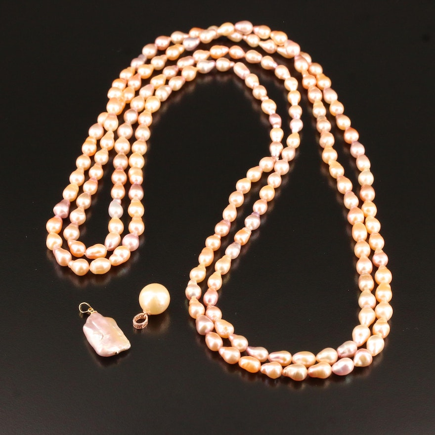 Assorted Pearl Jewelry Including Pendants and Endless Strand
