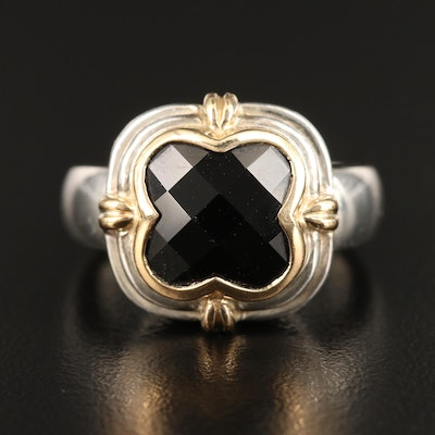 Lorenzo Sterling Silver Black Onyx Ring with 18K Accent