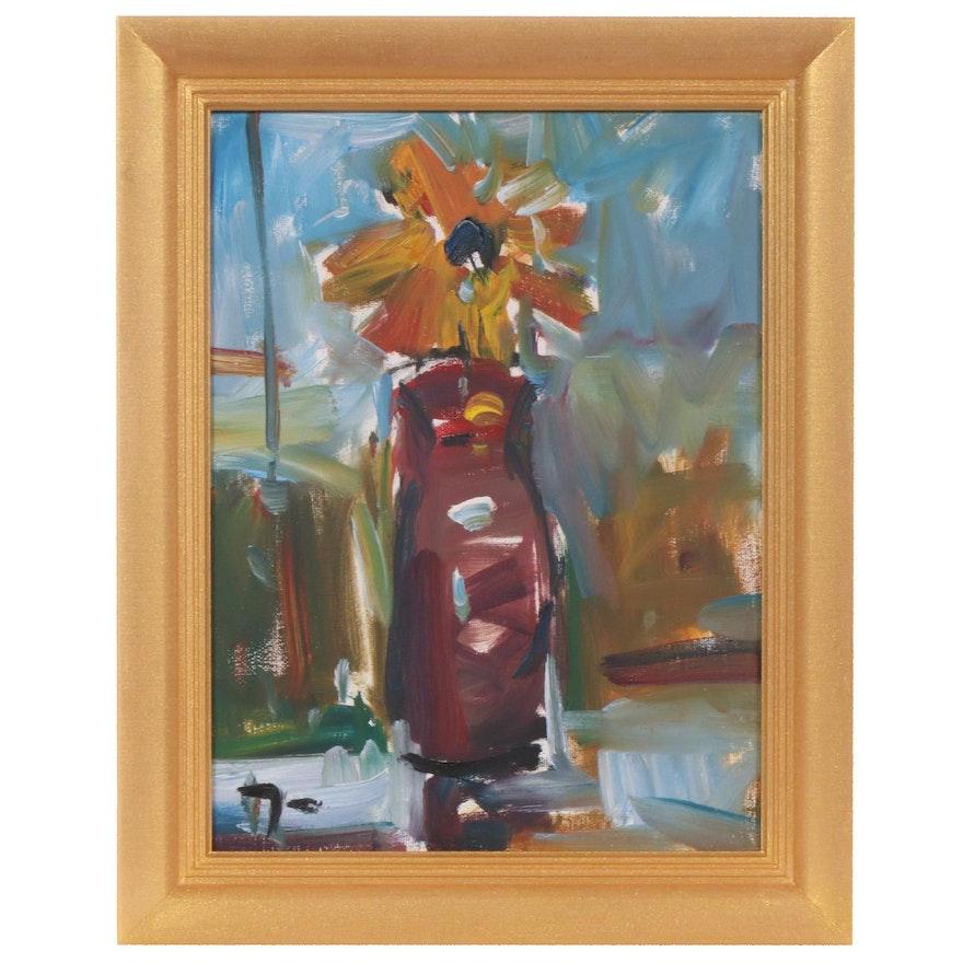 "Jose Trujillo Oil Painting ""The Flower"", 2019"