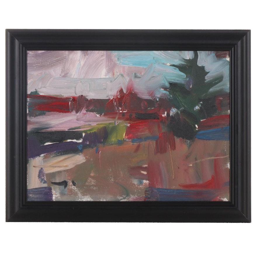 "Jose Trujillo Oil Painting ""Pink Twilight"", 2019"