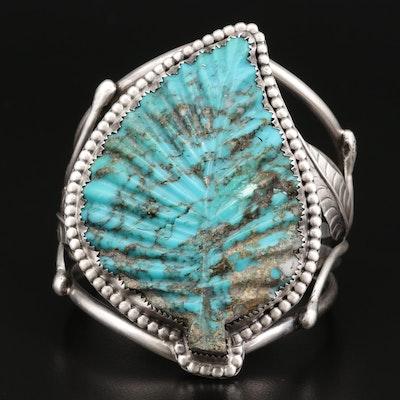 Albert J. Platero Navajo Diné Sterling Silver Turquoise Bracelet