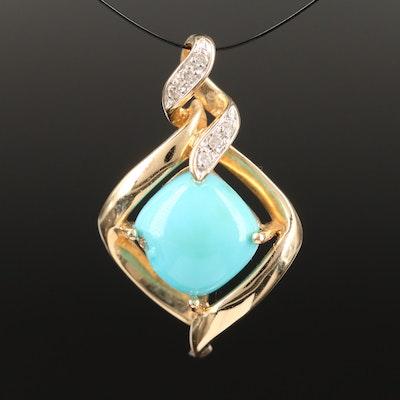 14K Imitation Turquoise and Diamond Twisted Pendant