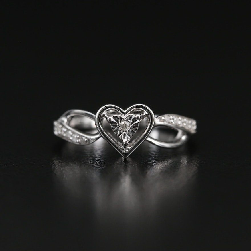 Sterling Silver Diamond Heart Ring with Illusion Setting