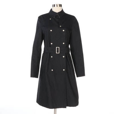 Burberry Double-Breasted Cotton Blend Belted Raincoat