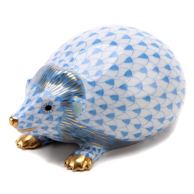 "Herend Blue Fishnet ""Hedgehog"" Porcelain Figurine, April 1995"