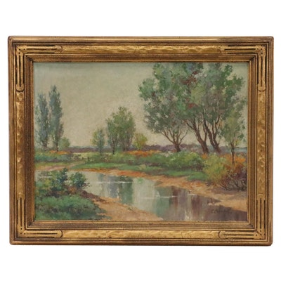 Charles Champe Landscape Oil Painting, 1929
