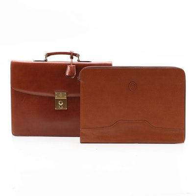 Mark Cross Brown Leather Briefcase with Folio
