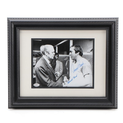 Gerald Ford and Johnny Bench Dual Signed Framed Photo Print, JSA COA
