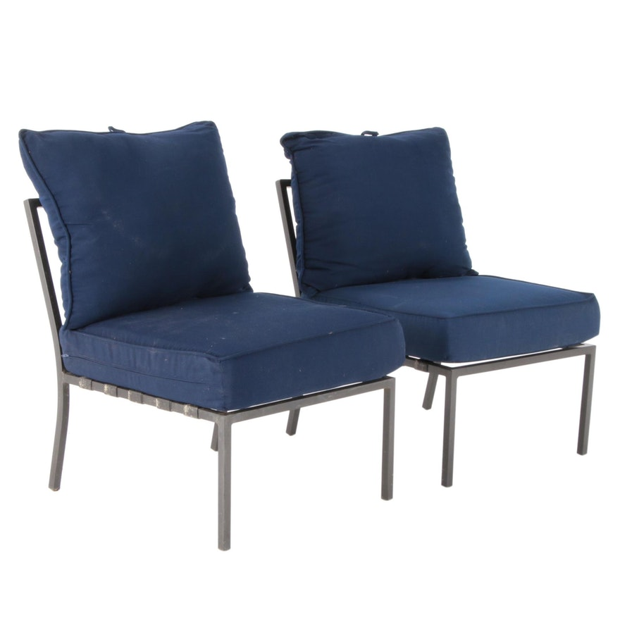 Contemporary Metal Patio Side Chairs with Cushions