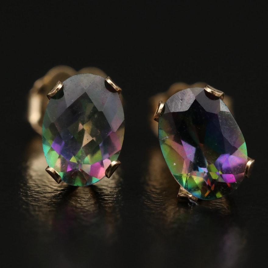 14K Mystic Topaz Stud Earrings