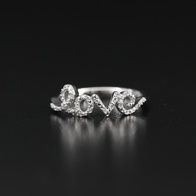 "Sterling Silver Diamond Script ""Love"" Ring"