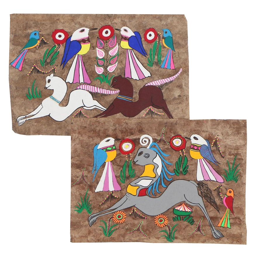 Mexican Folk Art Gouache Paintings of Birds and Animals on Amate Bark Paper