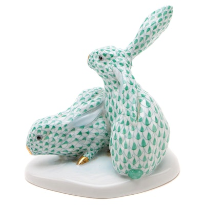 "Herend 150th Anniversary Green Fishnet ""Pair of Rabbits"" Porcelain Figurine"