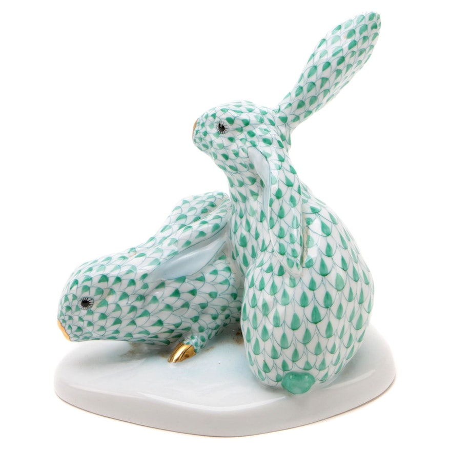 """Herend 150th Anniversary Green Fishnet """"Pair of Rabbits"""" Porcelain Figurine"""