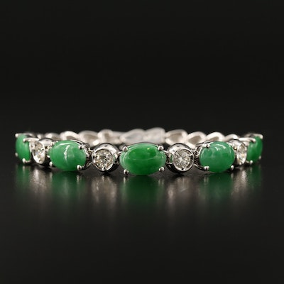18K Jadeite and 1.02 CTW Diamond Bracelet