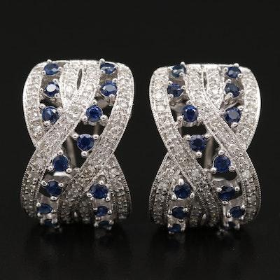 "14K Sapphire and Diamond ""X"" Earrings"