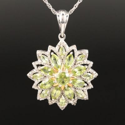Sterling Silver Peridot and Diamond Floral Necklace