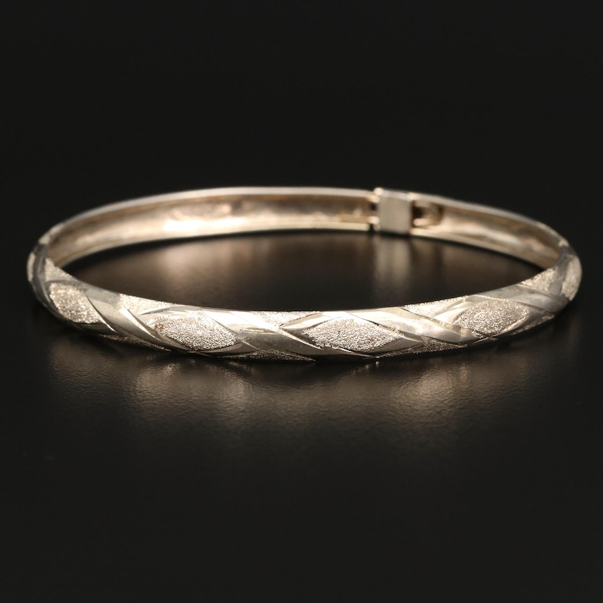 Sterling Silver Bangle Bracelet Featuring Stippled Texture