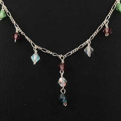 Sterling Silver Glass Station Necklace